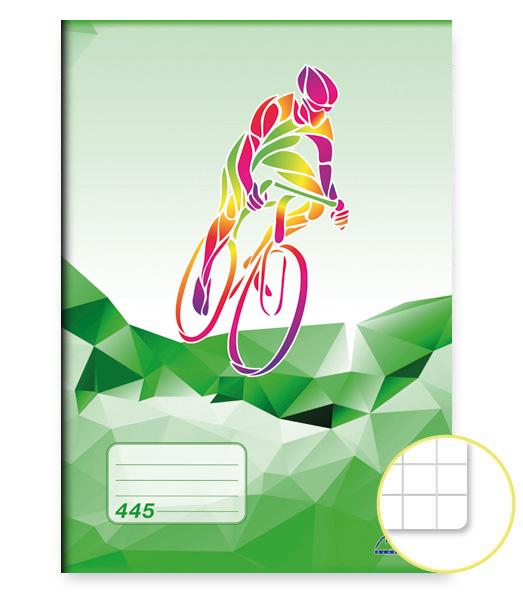Zošit 445 • 40 listový • štvorčekovaný 5×5 mm • ŠPORT Cyklistika zelený