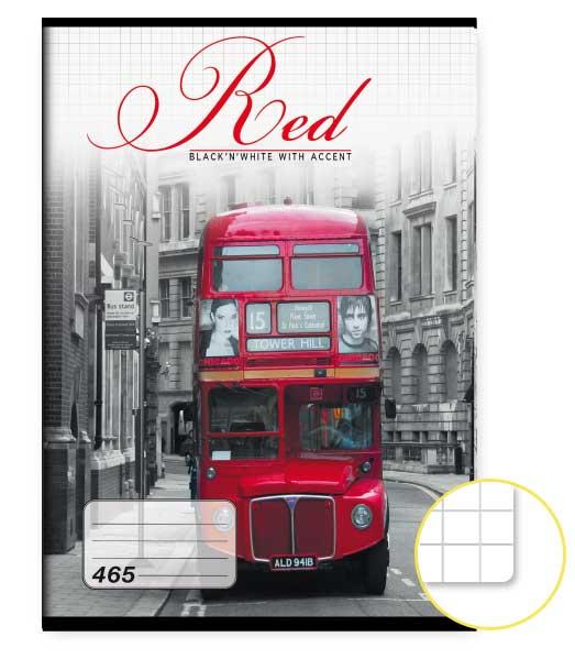 Zošit 465 • 60 listový • štvorčekovaný 5×5 mm  • Red