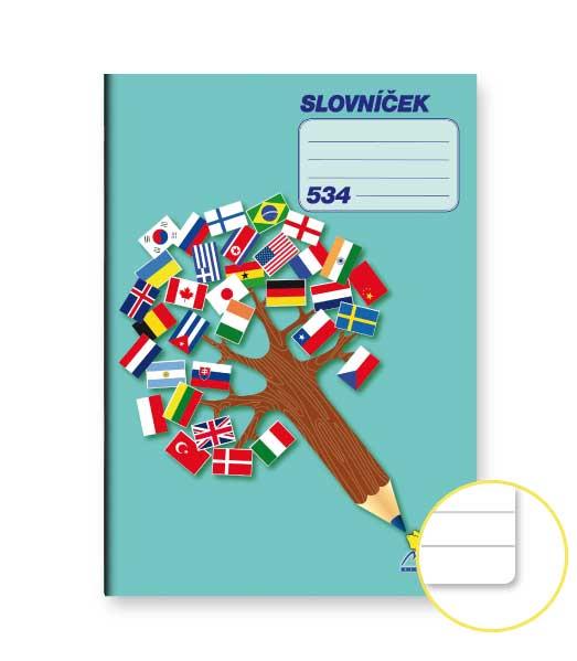 Zošit 534 Slovníček • 30 listový •  linkovaný 8 mm s dvoma kolmicami