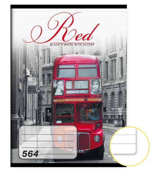 Zošit 564 • 60 listový • linkovaný 8mm • Red