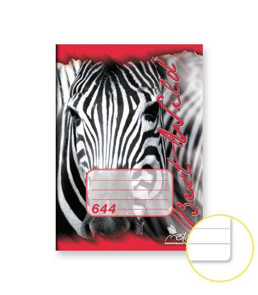 Zošit 644 • 40 listový • linkovaný 8 mm • ZOO Zebra červený