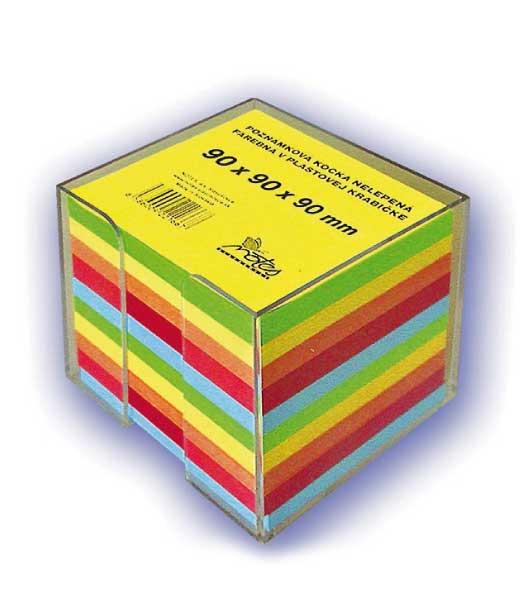Poznámková kocka B909090/5F • z farebných papierov • nelepená v plastovej krabičke
