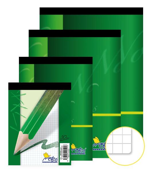Poznámkový blok • 50 listový • štvorčekovaný 5×5 mm • NOTES