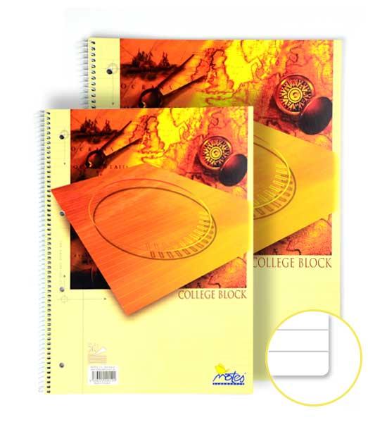 Špirálový COLLEGE blok • 50 listový • linkovaný 8 mm • KOMPAS