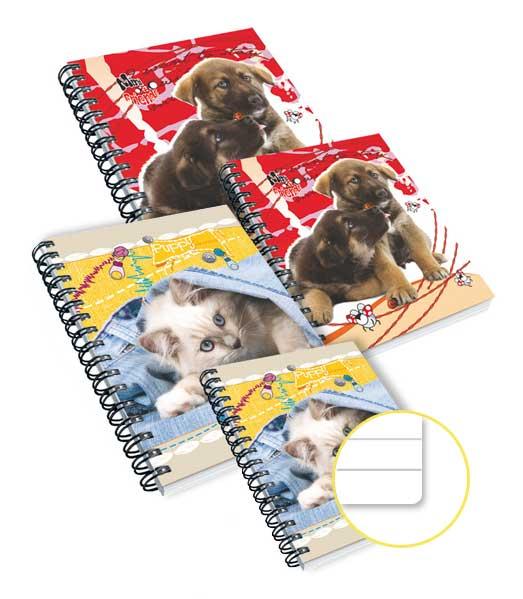 TW blok s knižnými doskami • 100 listový • linkovaný 8 mm • Mačička / Psík