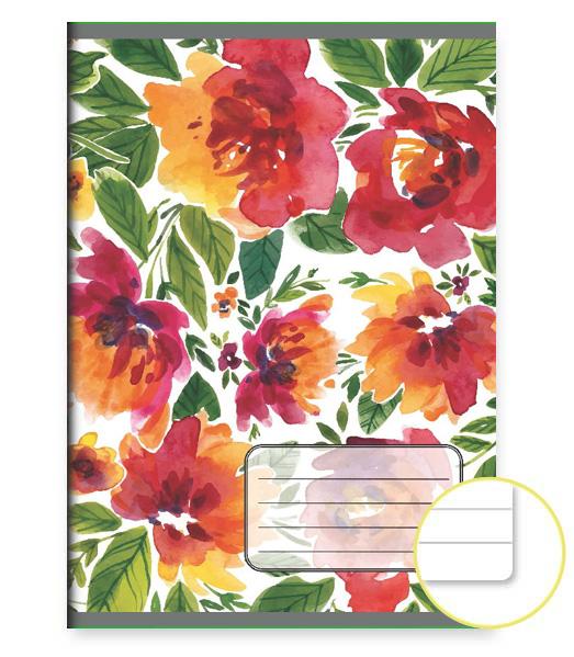 Zošit 444 EXTRA – 40 listový – linkovaný 8 mm s okrajom – Kvety